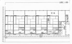 文政十一年(1828)道頓堀湊町(現湊町1)屋敷の間取図奥行は京間五間